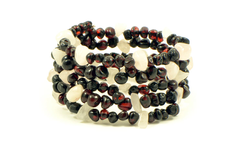 Baltic Amber and Gemstone Bracelet On Flexible Band