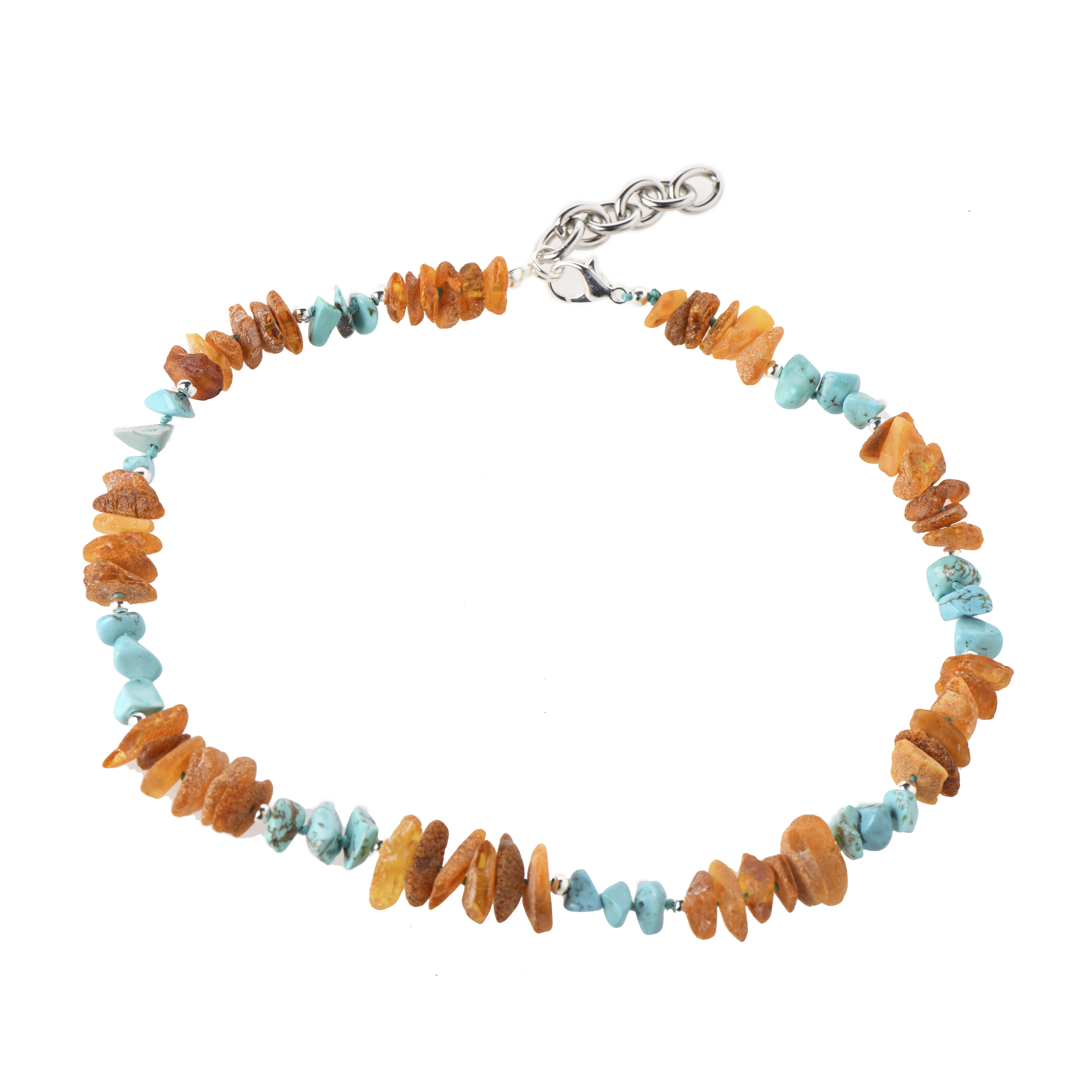 Amber silver and gemstone pet collar