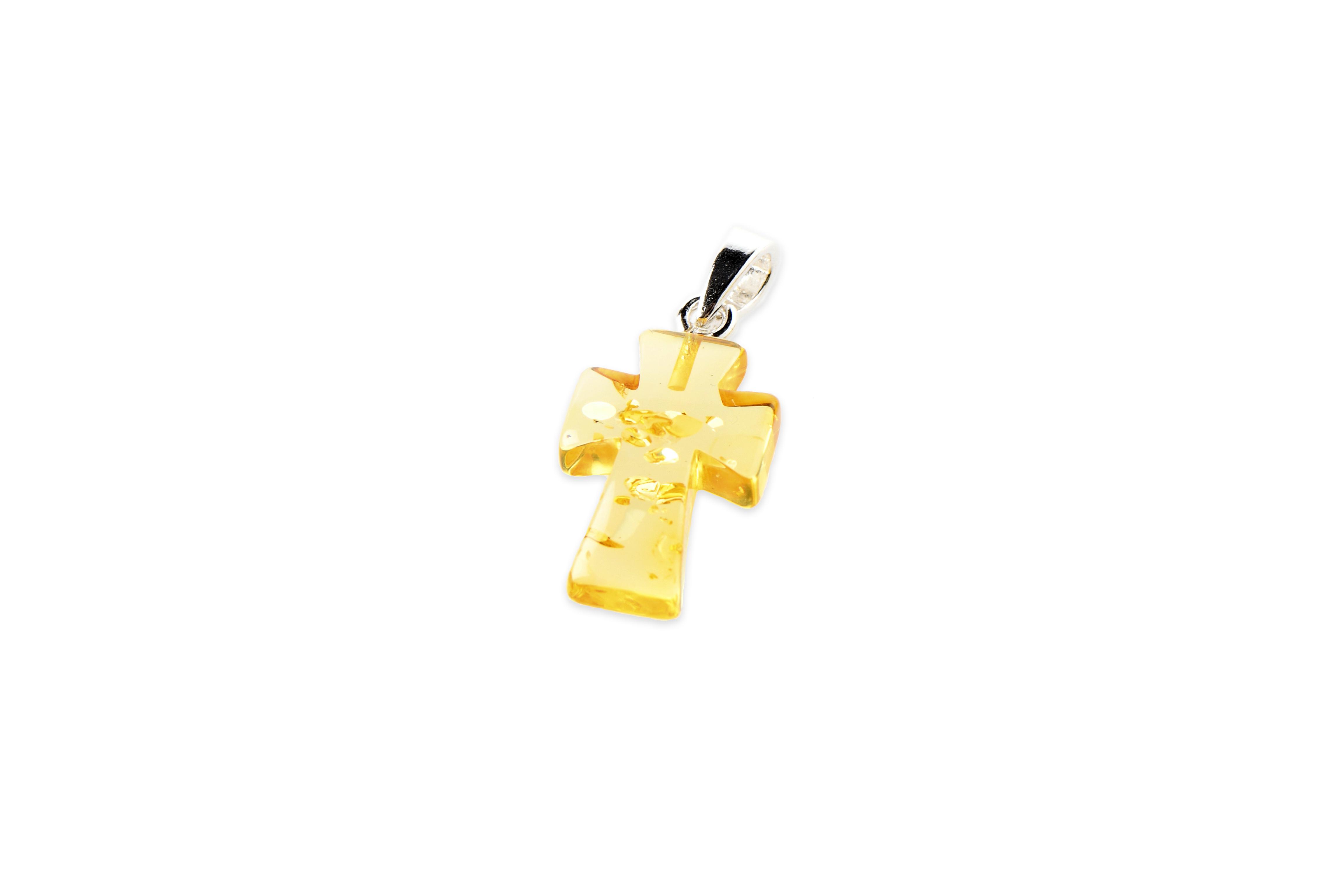 Amber Cross Pendant