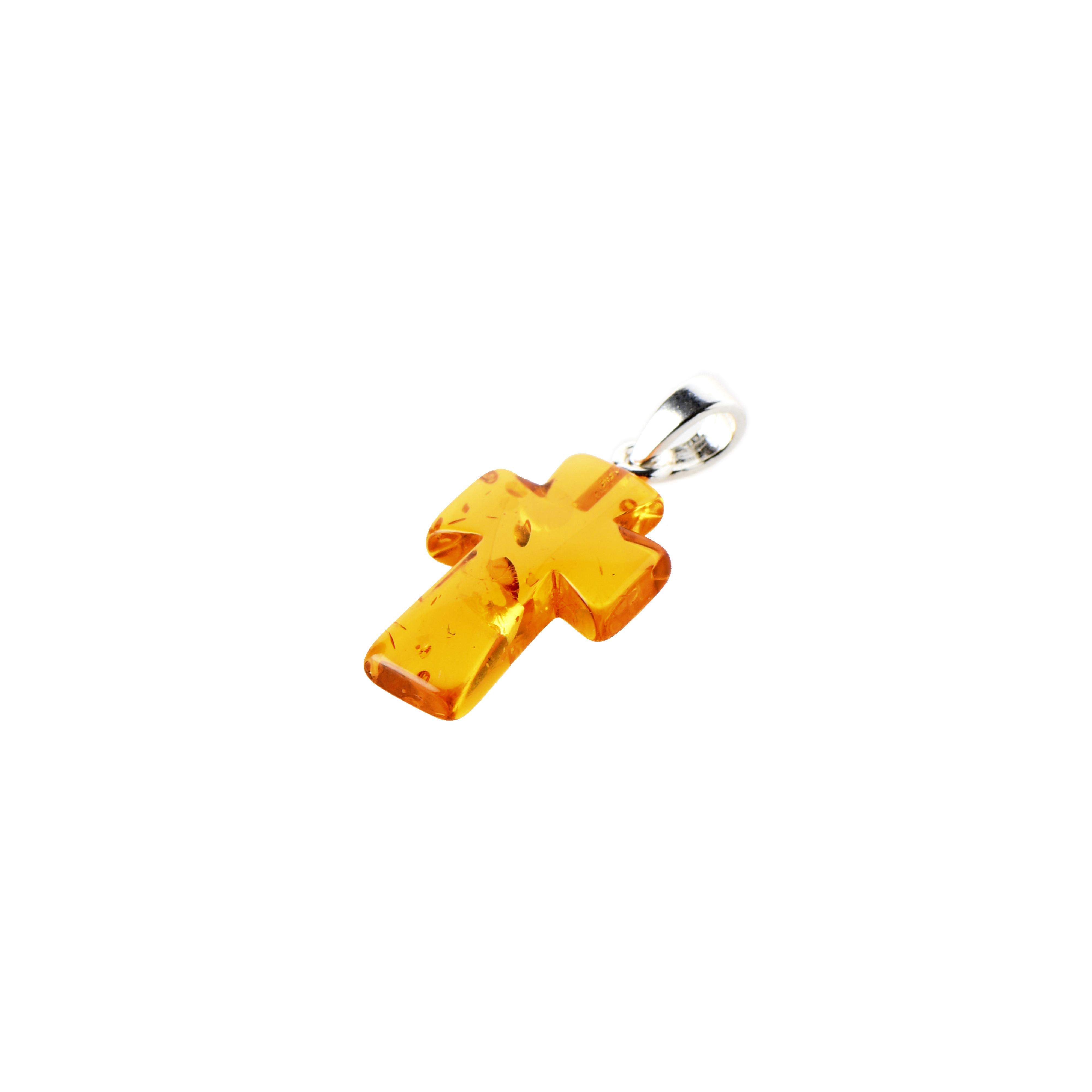 Honey amber cross pendant