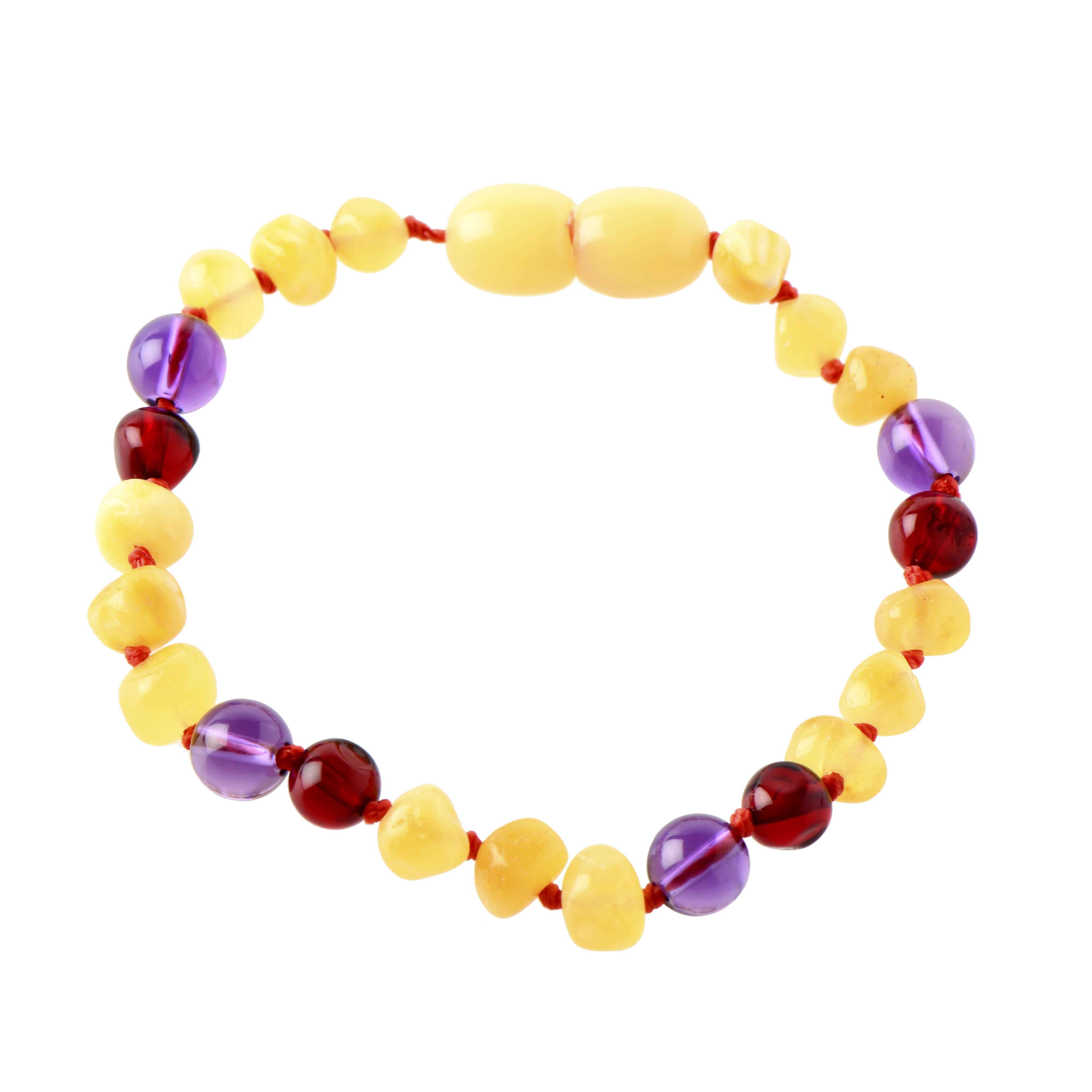 Milky amber and gemstone bracelet